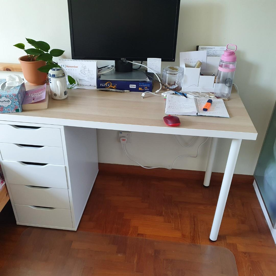 Ikea Office Desk With Drawers Furniture Tables Chairs On Carousell