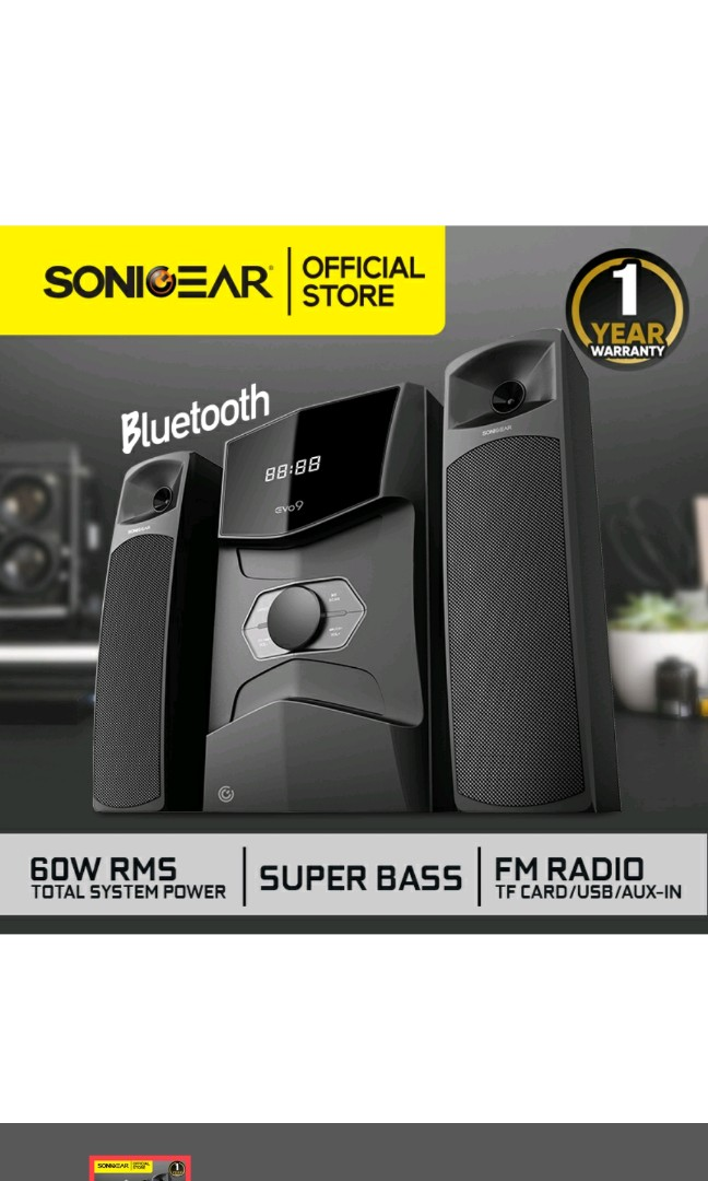 Sonic Gear Evo 9 - 2.1 Channel (bluetooth, Remote) : sonic, channel, (bluetooth,, remote), SonicGear]🔊EVO, DESKTOP, SPEAKERS, INPUT, Warranty, [🇸🇬Stock], [Next, Shipping]🔊,, Electronics,, Audio, Carousell
