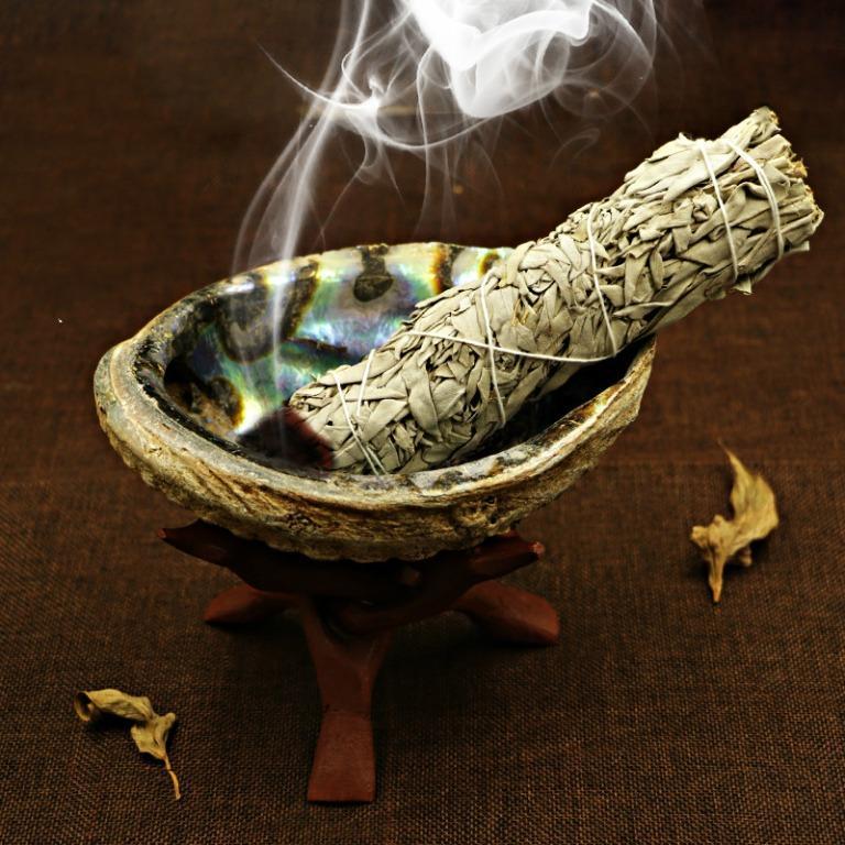 鼠尾草燃燒淨化器具 鮑魚貝殼 紅聖木鼎架 黑火雞羽毛 Abalone Shell Smudge Kit. Everything Else. Religious Items on Carousell