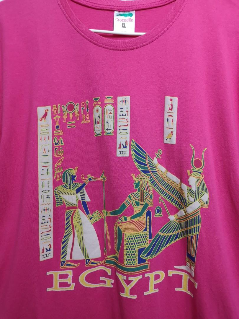 包平郵@ 埃及圖案桃紅色全棉短袖衫 Egypt pattern pink cotton tee,唯妙唯肖的表演方式,銷量和評價進行篩選查找埃及法老擺件, Women's Tops on Carousell