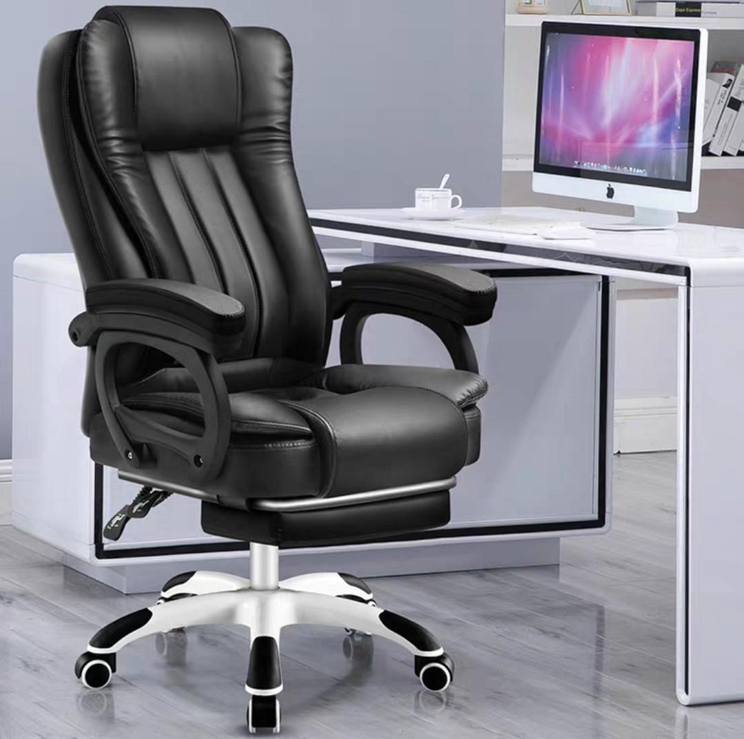(訂貨價:$440up)PU老闆凳(可躺電腦椅+擱腳)電腦凳 辦公室椅 乳膠坐墊 含按摩功能 Boss Chair. 傢俬&家居. 傢 ...