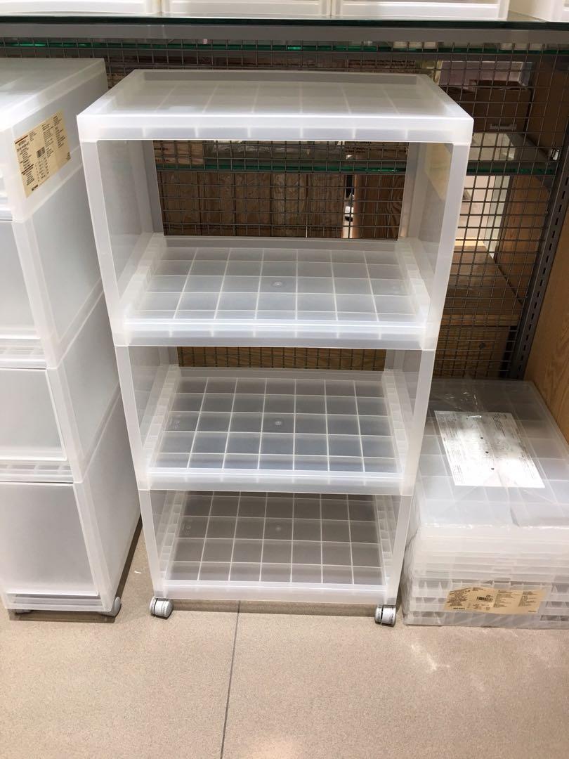 Muji 無印良品 PP三層儲物架連活輪 ikea 層架 儲物櫃 膠架 膠櫃 貯物架 貯物櫃, 傢俬&家居, 其他 - Carousell