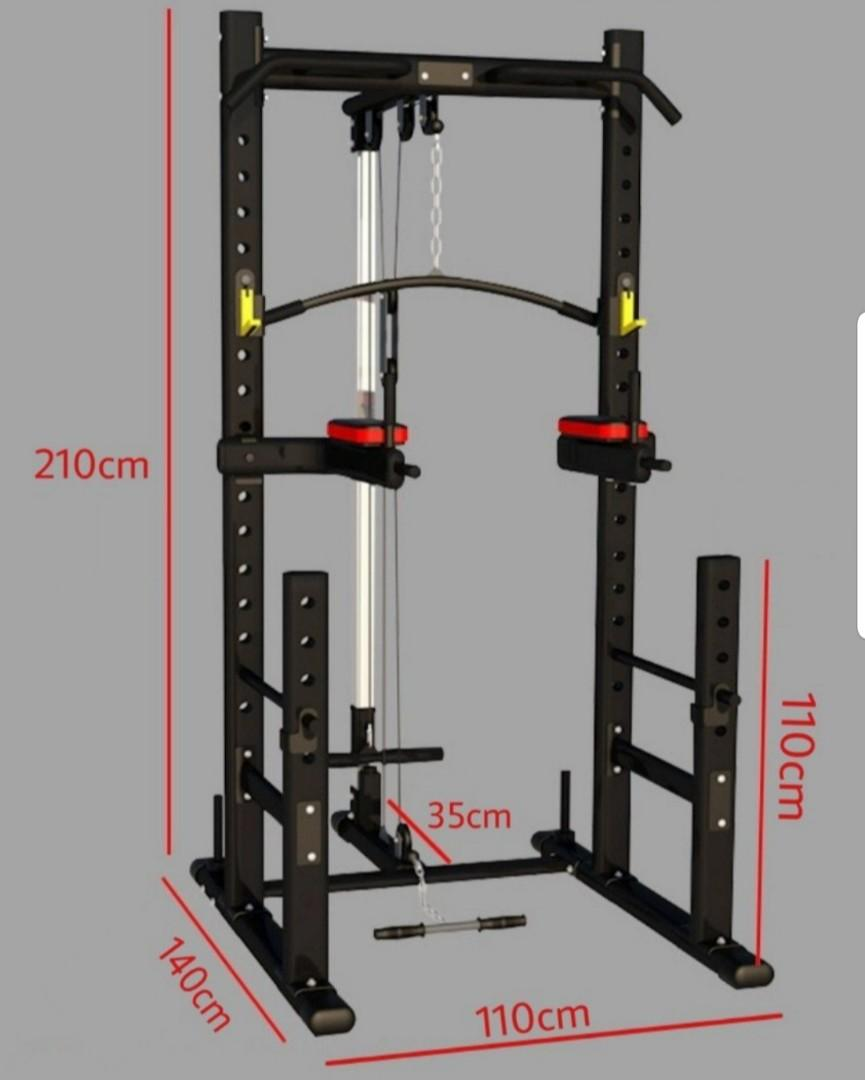 squat rack with pulley system dip bars ready stock