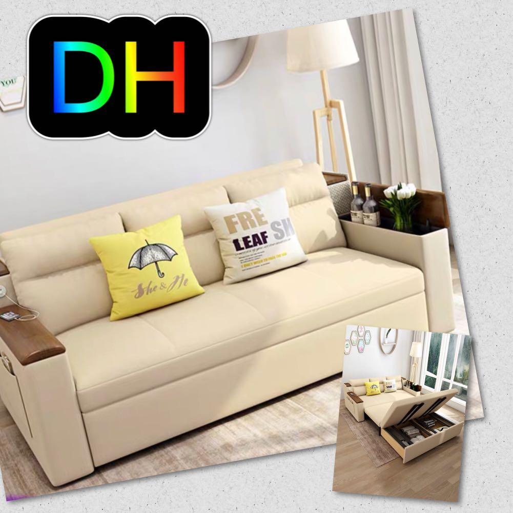ⒹⒽ77優質棉麻儲物梳化床. Home & Furniture. Furniture on Carousell