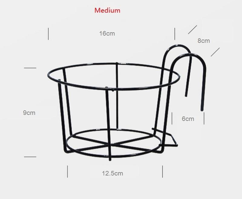 Outdoor Hanging Plant Iron Rack Fence Balcony Round Flower