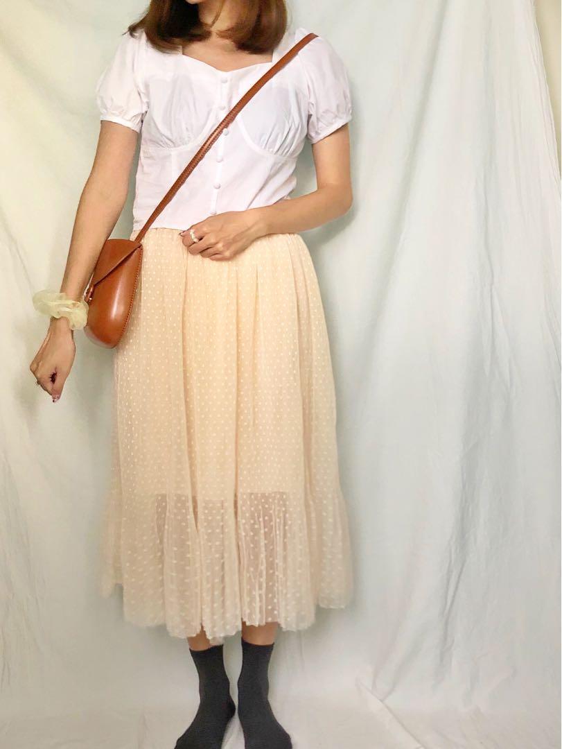 韓國 女裝 白色 波點 透視 紗裙 半截裙 中長裙 傘裙 korea woman white dotted pattern skirt dress, 女裝, 女裝褲&半截裙 ...