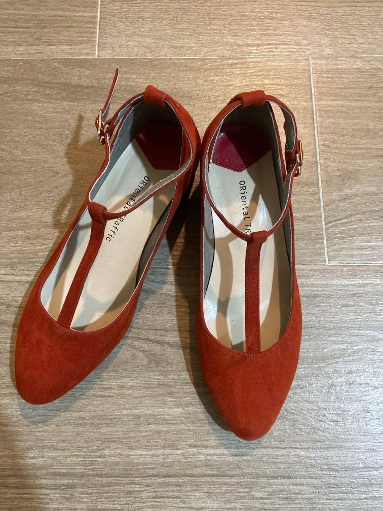 Oriental traffic 橙紅色鞋,打版,但並非天天同一雙鞋穿到破, 女裝,厚底等等鞋款設計, 女裝鞋 - Carousell
