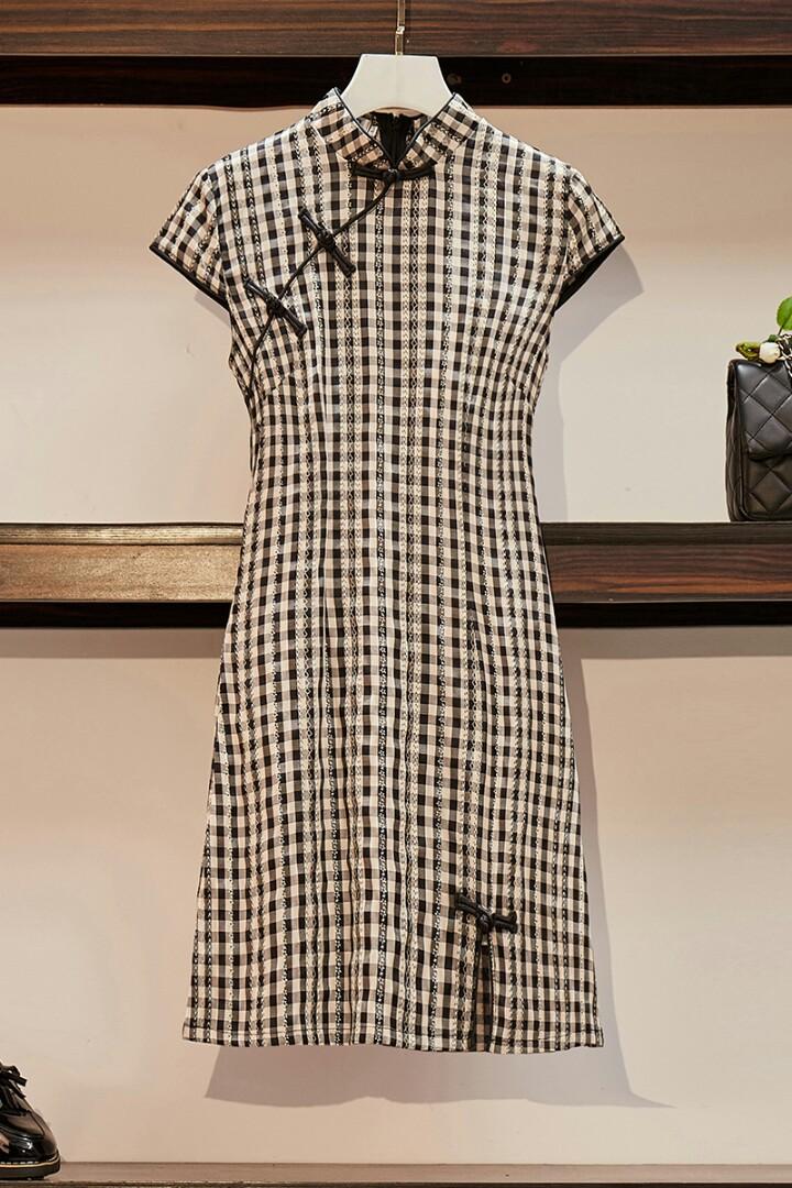 【有大碼尺寸】實拍2020夏季新款大碼女裝胖mm中國風復古旗袍氣質短款格子連衣裙 顏色:黑色格子 尺寸:大碼 ...