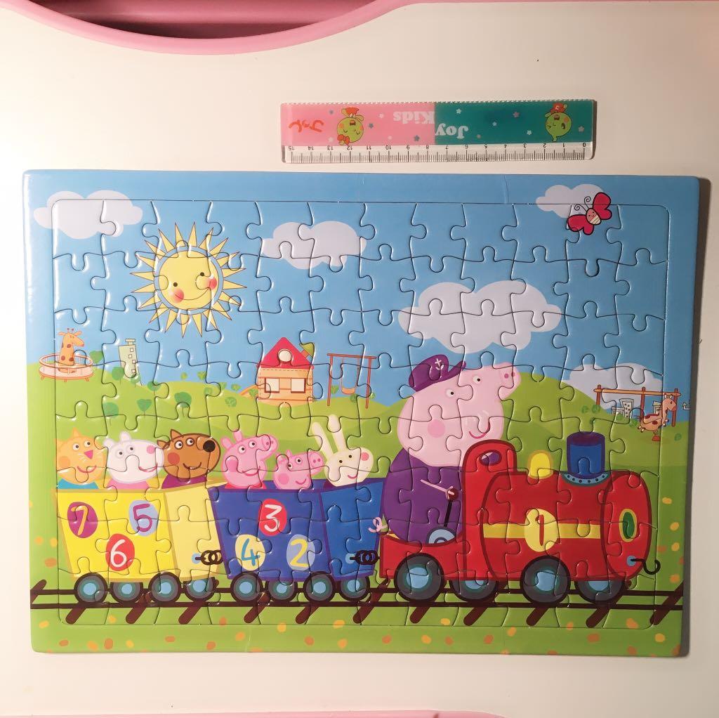 佩佩豬96片拼圖 小豬佩琪 粉紅豬小妹 二手近新, 親子用品, 嬰幼兒玩具在旋轉拍賣