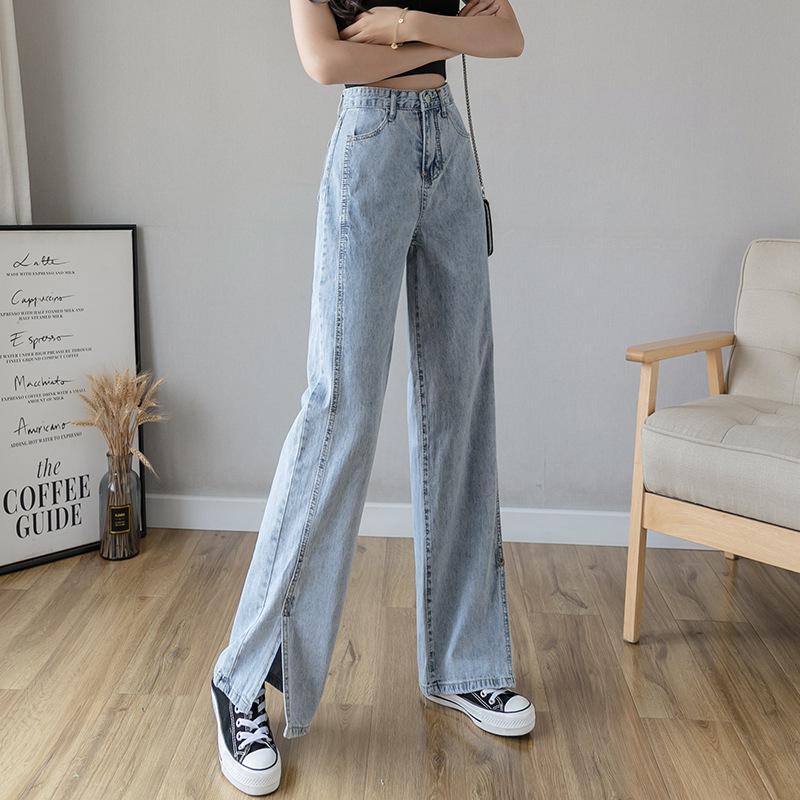 牛仔褲女直筒寬松高腰顯瘦2020新款夏季薄款闊腿垂感開叉泫拖地褲. 女裝. 女裝褲&半截裙 - Carousell