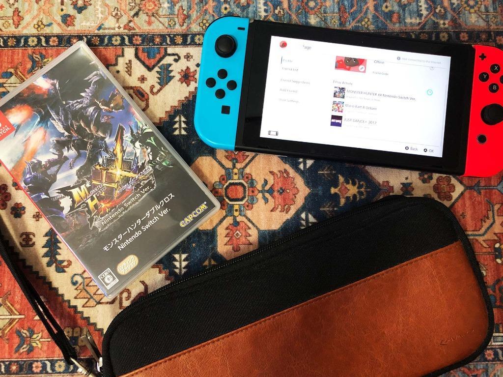 [遊戲時間不足130小時] 初代行貨Nintendo Switch紅藍主機 l 有盒有單 l 配件齊全 l HORI 保護貼 l 人造皮機袋 l MHXX ...