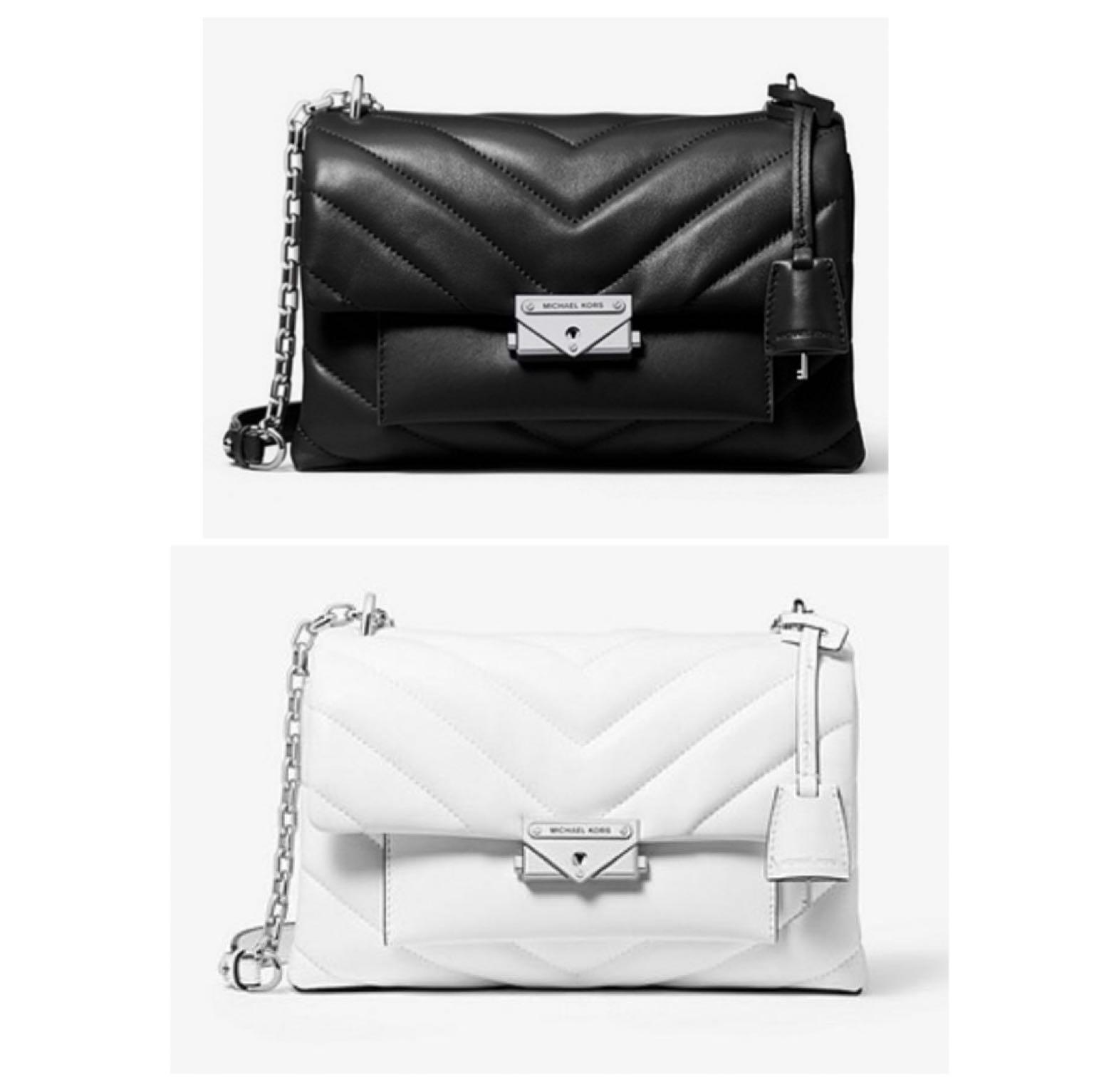 專櫃Michael kors CECE 銀鍊小羊皮縫衍鍊包黑色,白色, 寬24*16*厚10cm, 名牌精品, 精品包包在旋轉拍賣