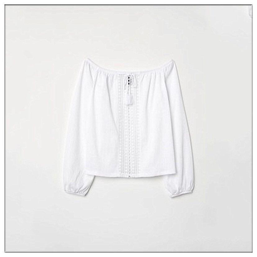 H&M白色長袖民族風鏤空流蘇一字膊上衣, 女裝, 女裝上衣 & 外套 - Carousell