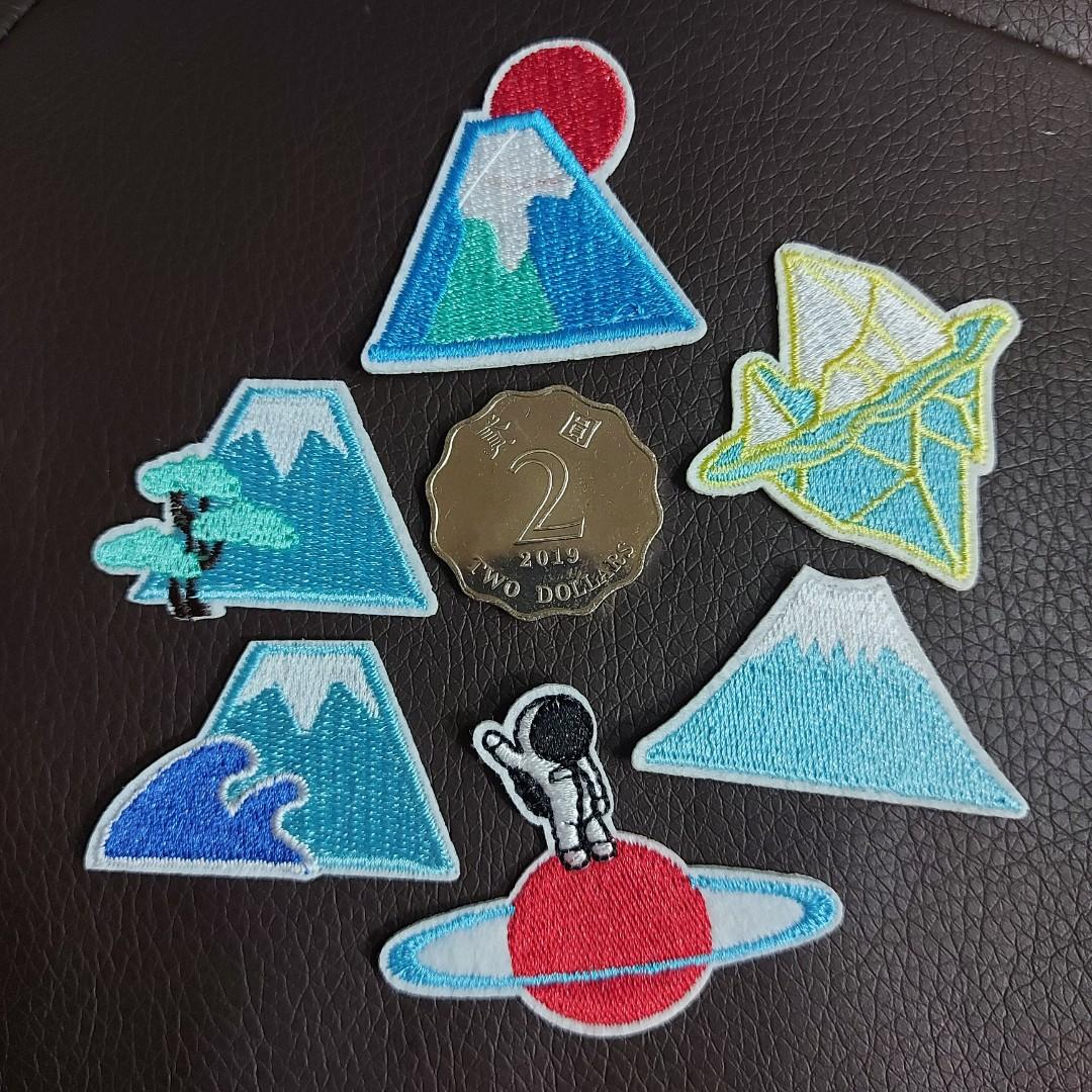 (包郵) 一套6個 富士山 熨貼 布章. 手作&自家設計. 手作產品 & 飾物 - Carousell