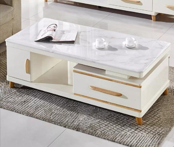 cutkurred heavy white grey marble solid wood coffee table with drawer storage shelf