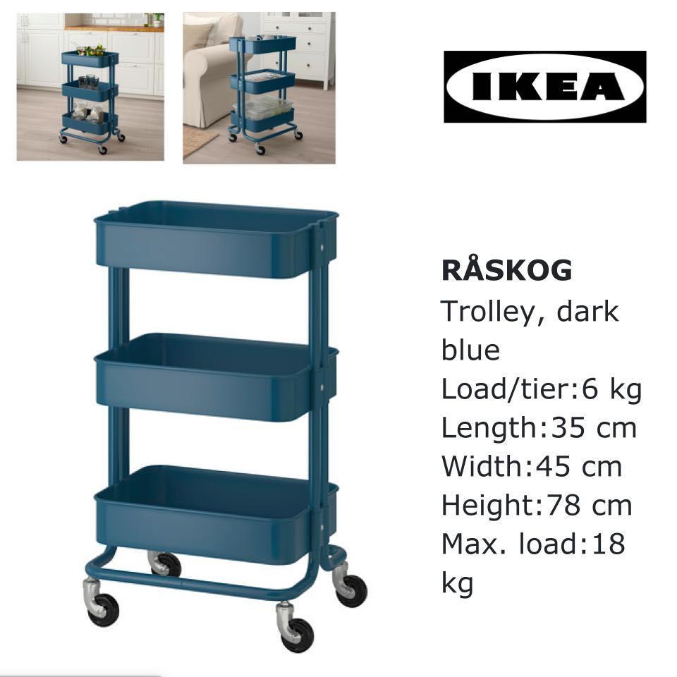 ikea raskog 3 tiers trolley dark blue