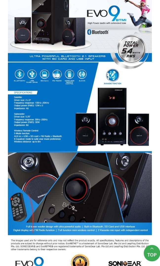 Sonic Gear Evo 9 - 2.1 Channel (bluetooth, Remote) : sonic, channel, (bluetooth,, remote), SONICGEAR, BLUETOOTH, MULTIMEDIA, SPEAKER, RADIO, INPUT,, Electronics,, Audio, Carousell