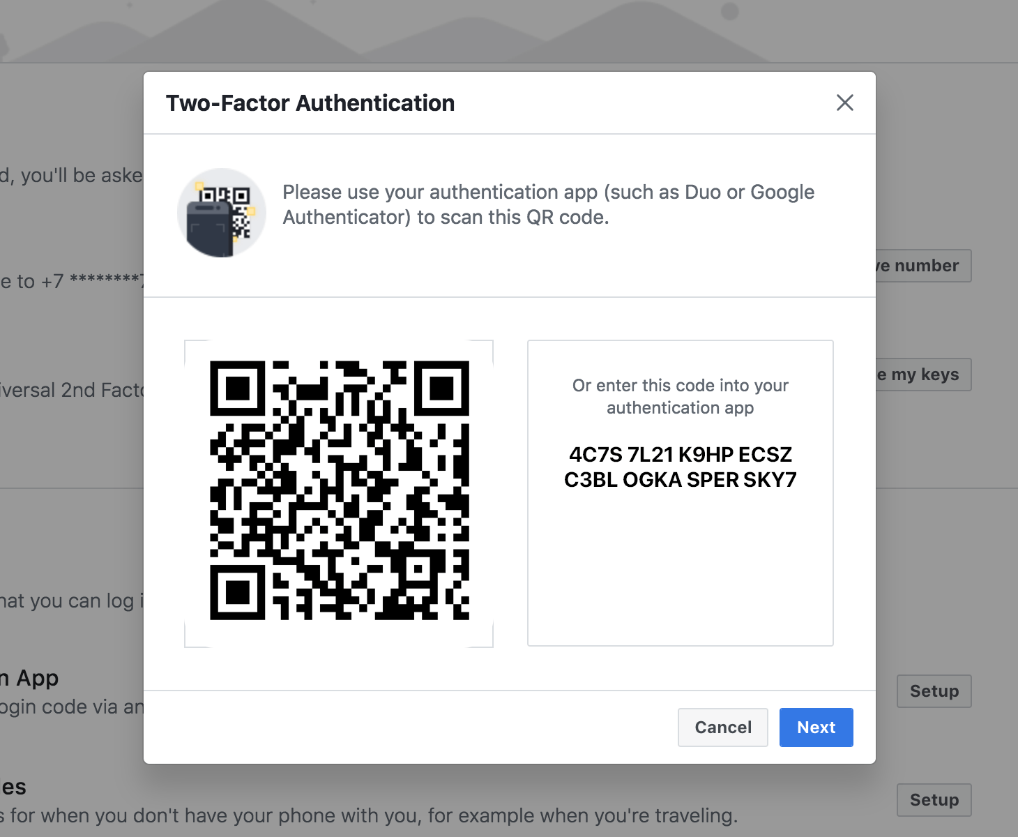 How to enable an authenticator app in Facebook