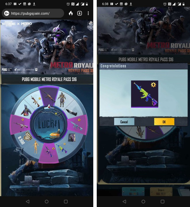 Phishing pages with a Lucky Spin giveaway for the new season of PUBG Mobile with Metro: Exodus