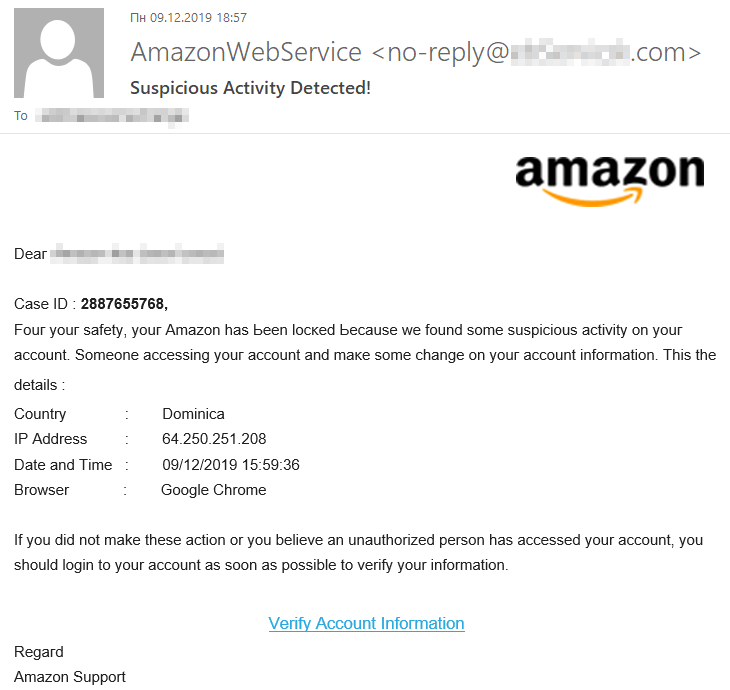 A phishing e-mail saying your account has been locked because of suspicious activity
