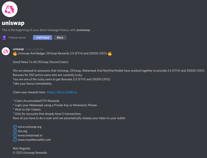 A scam message from a fake exchange about winning helicopter ETH and ZKS