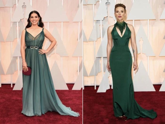 Gröna klänningar på Oscarsgalans röda matta.