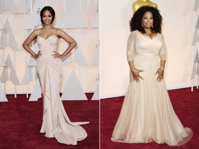 Puderfärgade klänningar på Oscarsgalans röda matta.