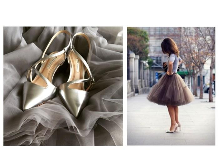 """Inspirationsbilden till höger satte jag upp på min """"dröm-shoppinglista"""" och härom dagen snubblade jag över drömplaggen – den grå tyllkjolen och silverskorna."""