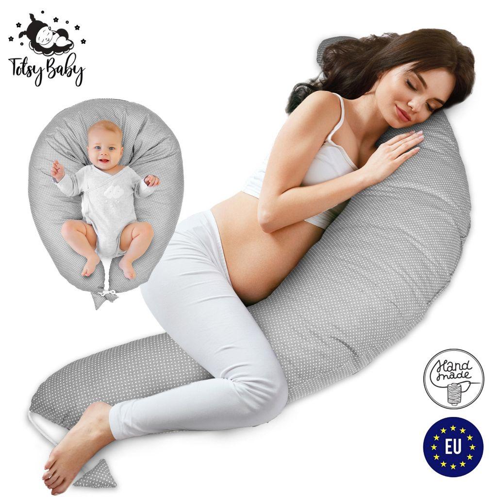 stillkissen schwangerschaftskissen zum schlafen pregnancy pillow seitenschlaferkissen lagerungskissen fur baby grau mit weissen tupfen