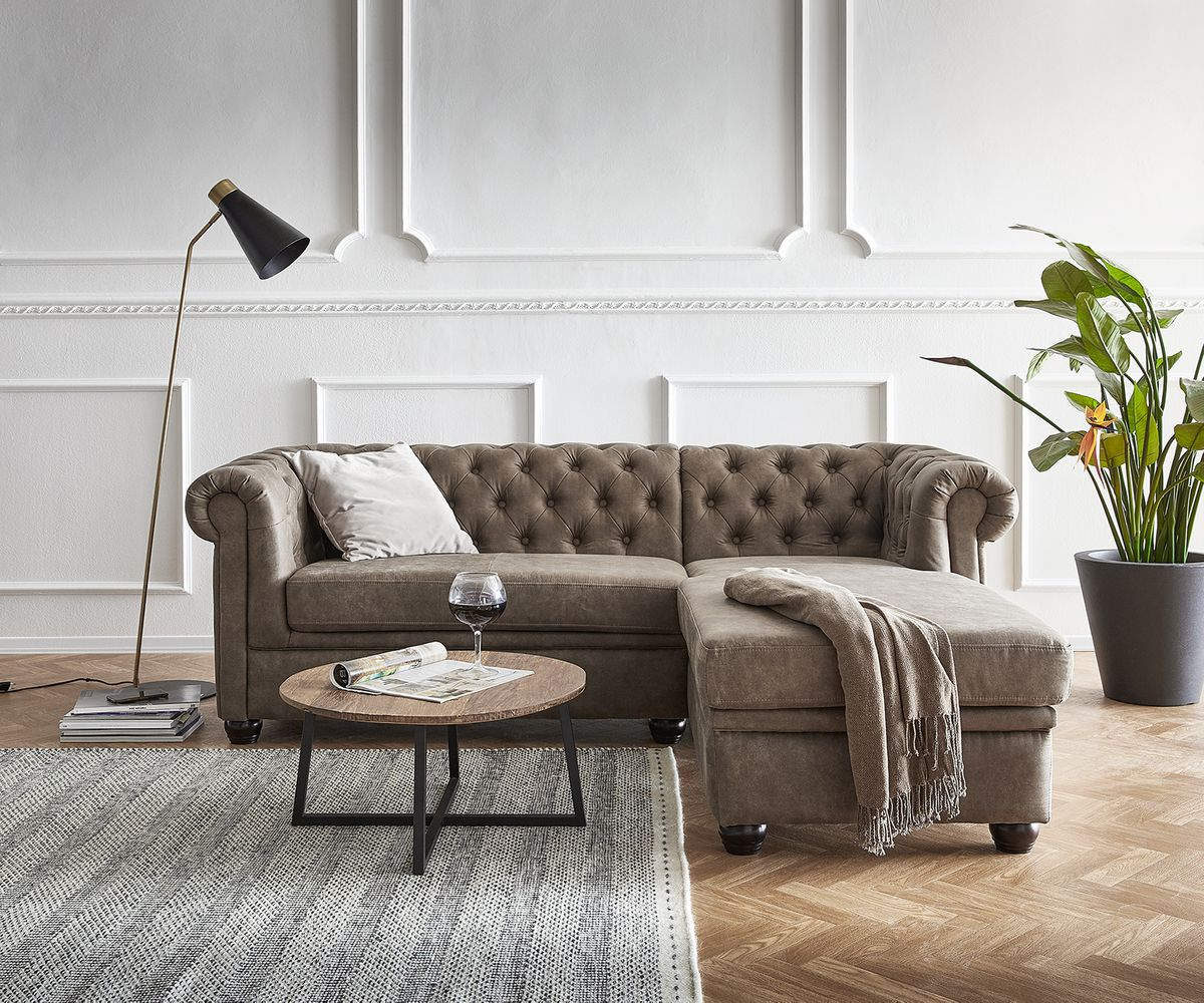 Couch Chesterfield 200 Cm Taupe Abgesteppt Kaufland De