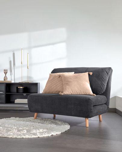 Sofá cama Keren 106 cm efecto pana gris oscuro