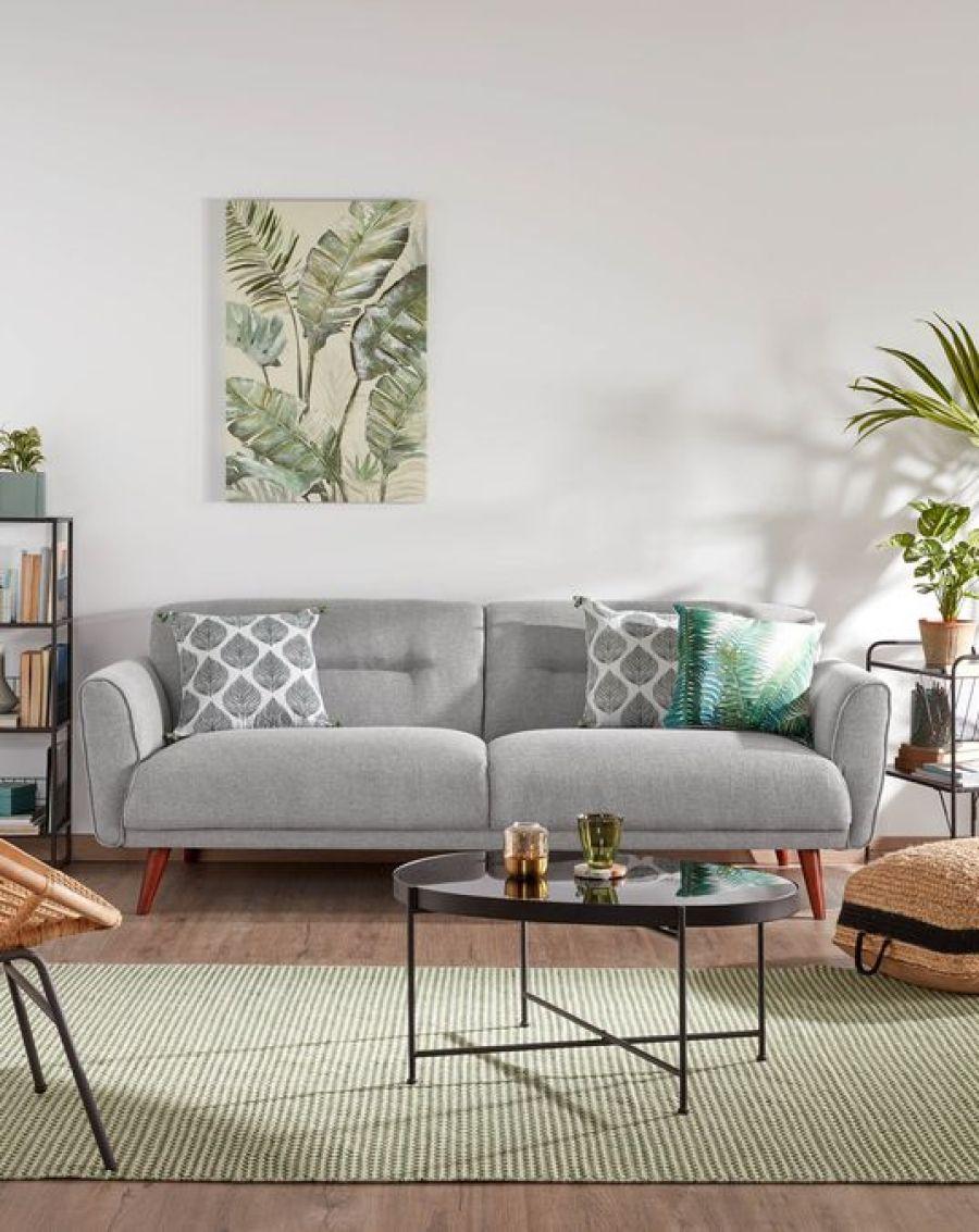 Sofá de estilo escandinavo Oksana 3 plazas gris claro 215 cm *** 759 Euros en Kave Home.