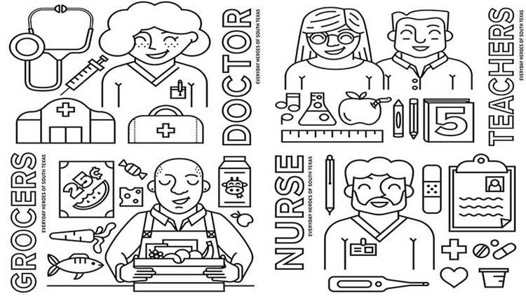 KENS 5 Coloring Pages: Everyday Heroes of South Texas