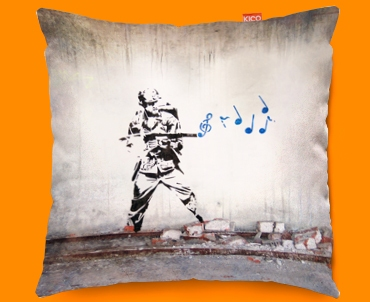 faux suede sofa cover dark brown what color rug banksy soldier funky cushion 45x45cm