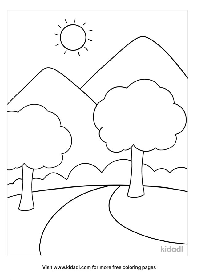 Easy Landscape Coloring Pages  Free Outdoor Coloring Pages  Kidadl