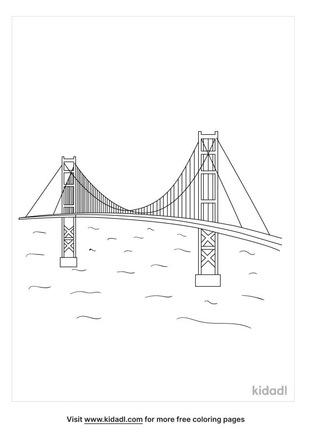 Golden Gate Bridge Coloring Pages  Free Buildings Coloring Pages