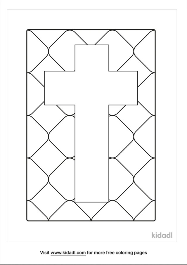 Stained Glass Cross Coloring Pages  Free Bible Coloring Pages