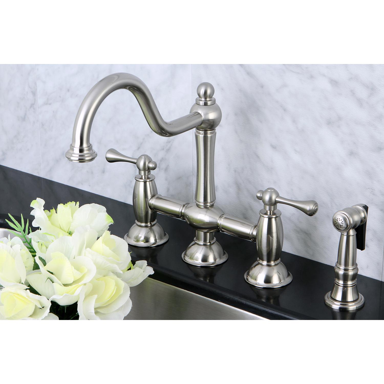 brushed nickel kitchen faucet with sprayer decorating a large wall kingston brass ks3798blbs restoration bridge