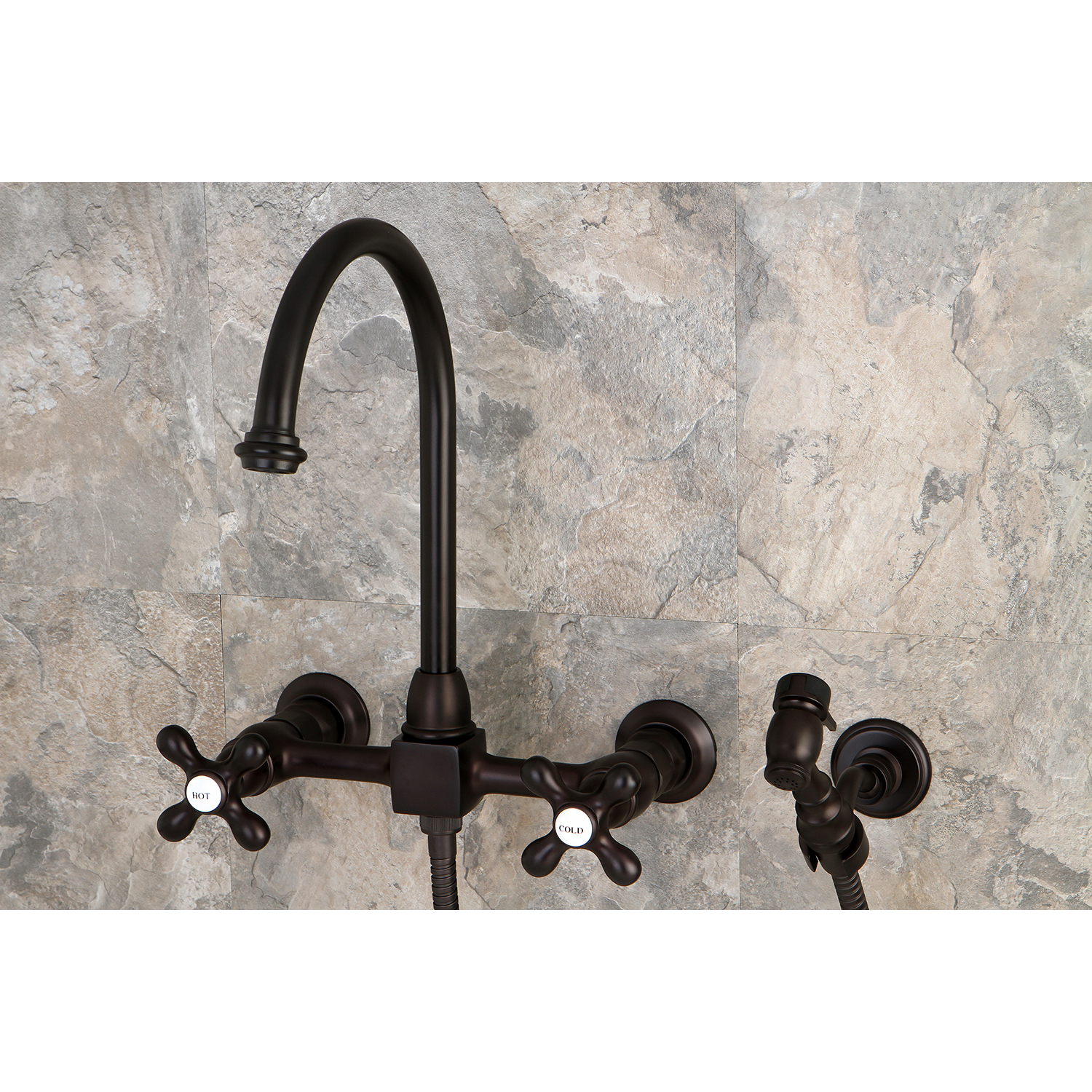 wall mount kitchen faucet with sprayer chair cushions target kingston brass ks1295axbs restoration 8 quot