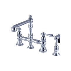 Kitchen Faucet With Side Sprayer Stainless Steel Work Table Kingston Brass Ks7271albs