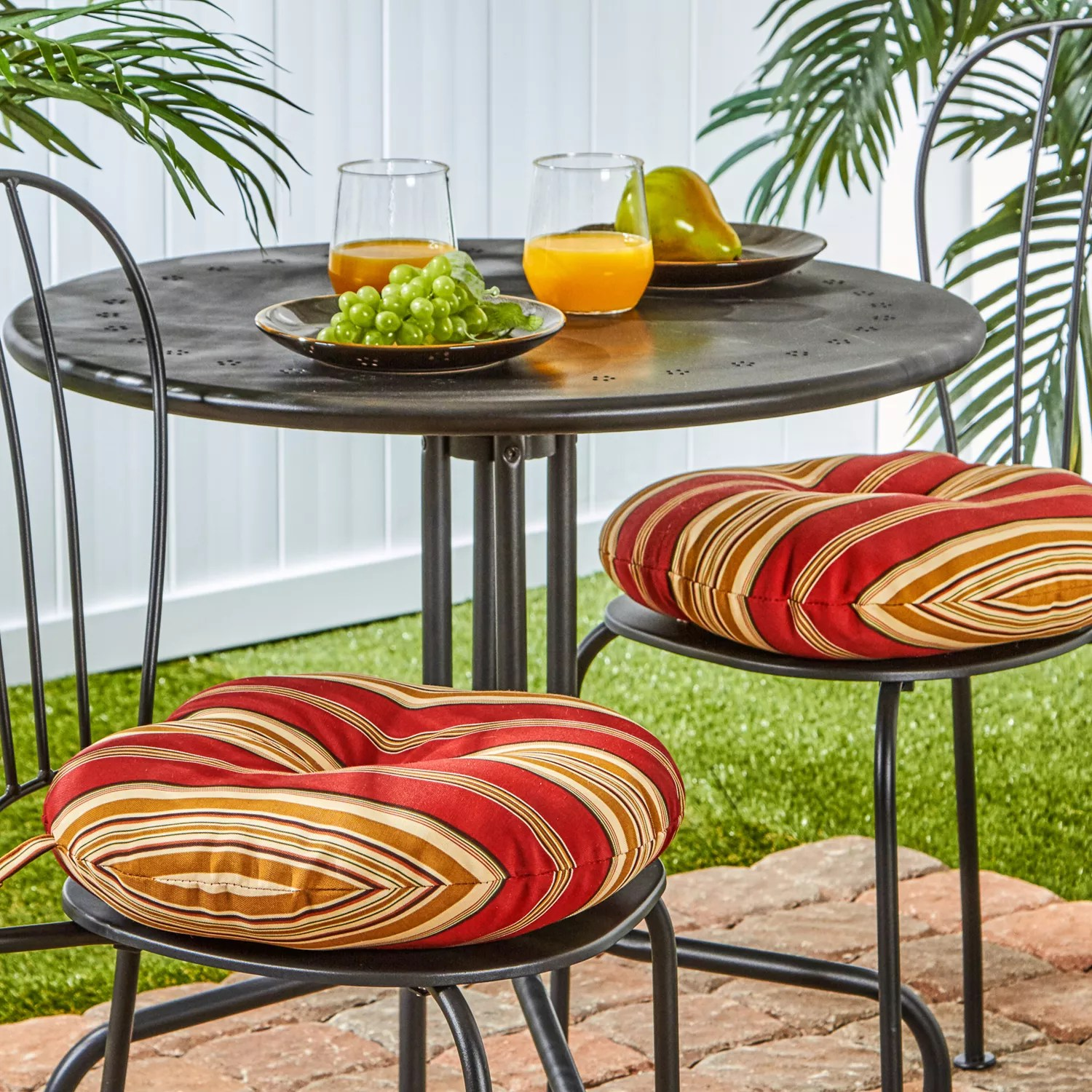 greendale home fashions solid 2 pk outdoor round chair cushions 15