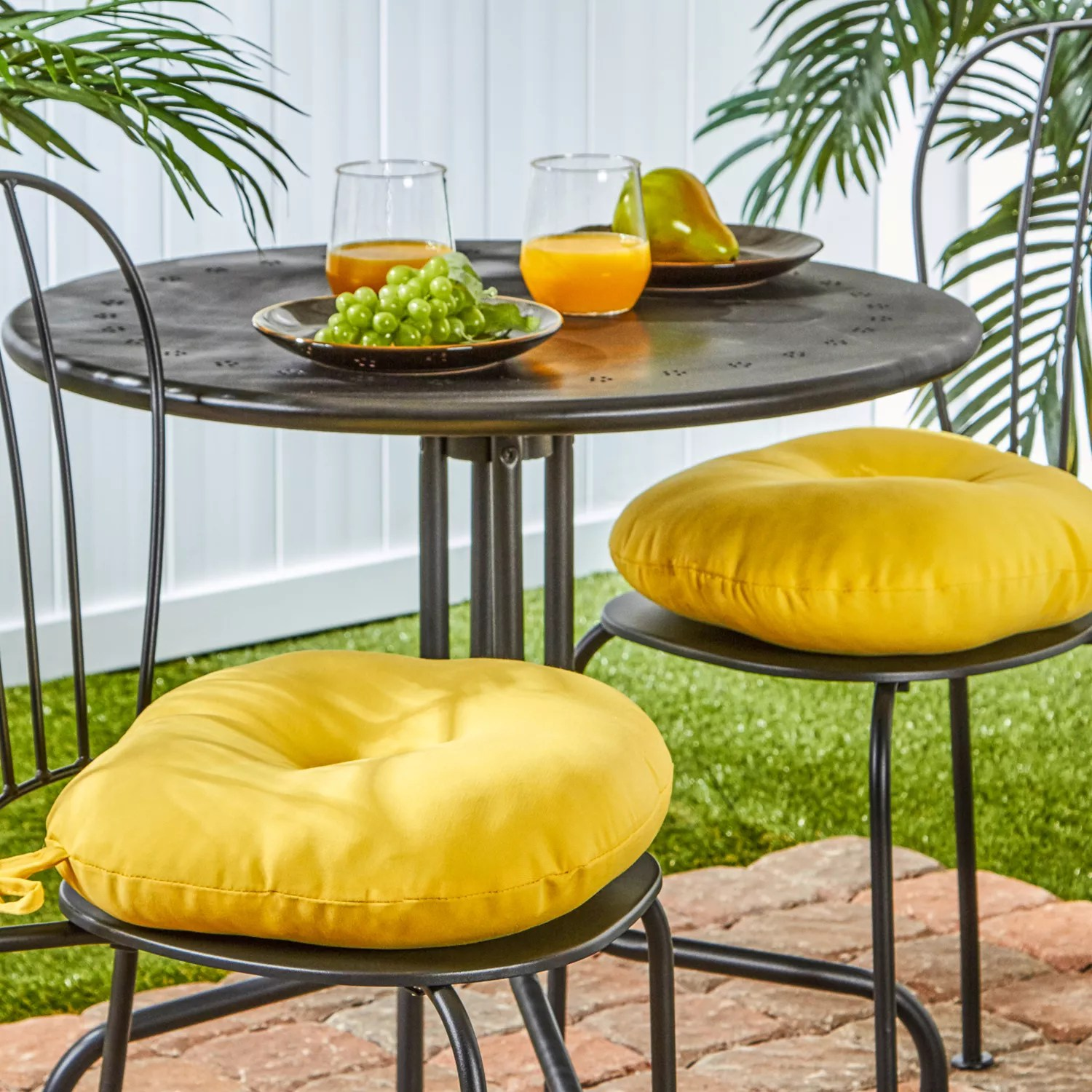 yellow outdoor chair pads cushions