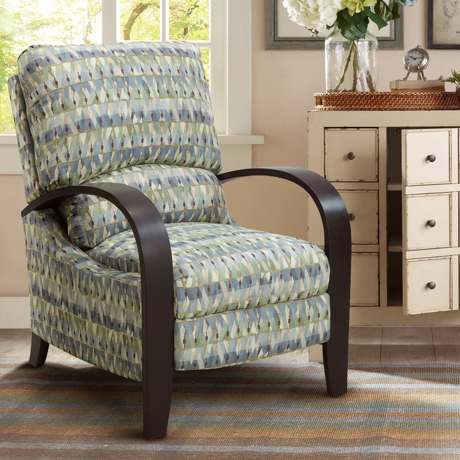 reclining accent chair sit stand amazon recliners chairs furniture kohl s madison park geometric bent arm recliner