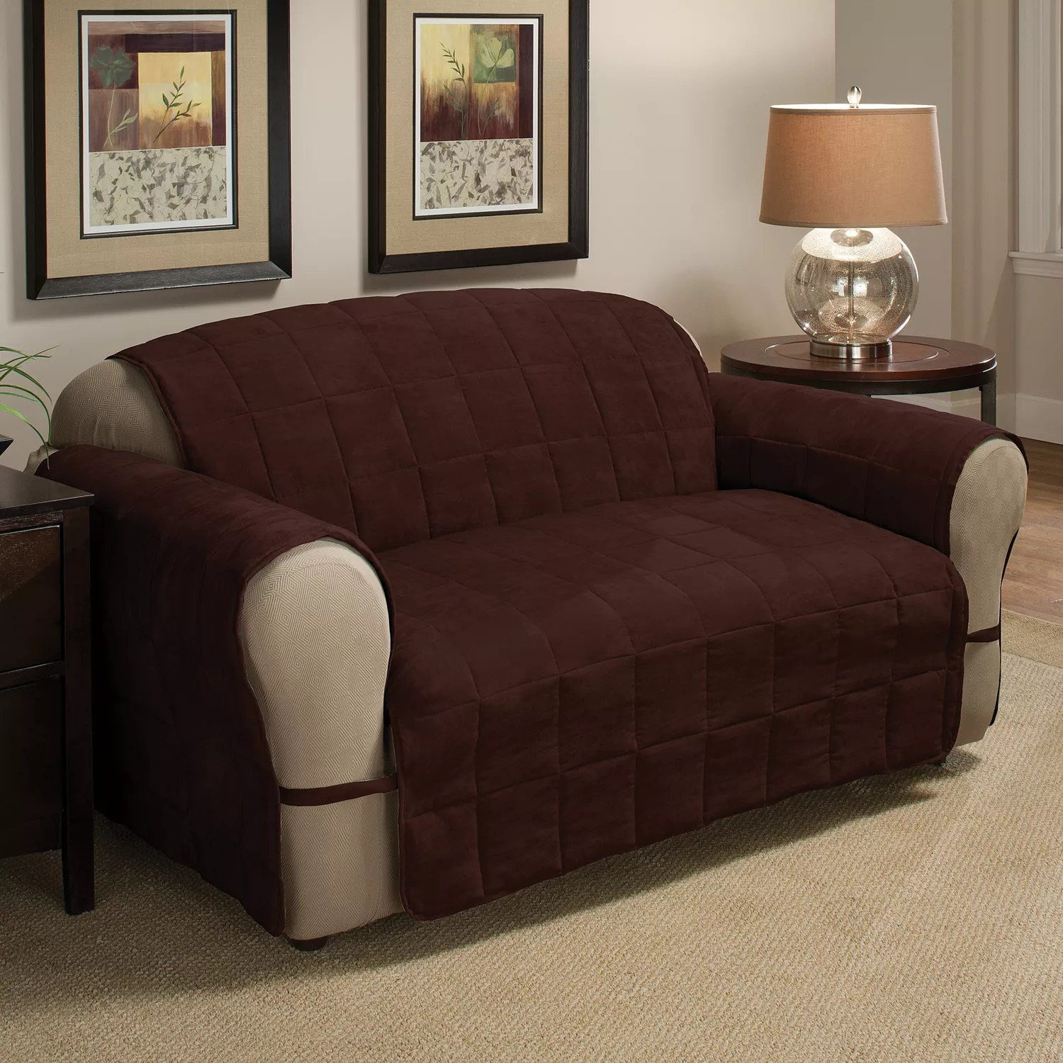 faux suede sofa cleaning instructions pottery barn manhattan slipcover jeffrey home ultimate quilted furniture protector