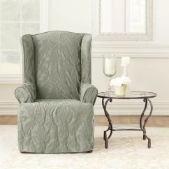 Sure Fit Wing Chair Slipcover Lawn Chairs For Sale Matelasse Damask