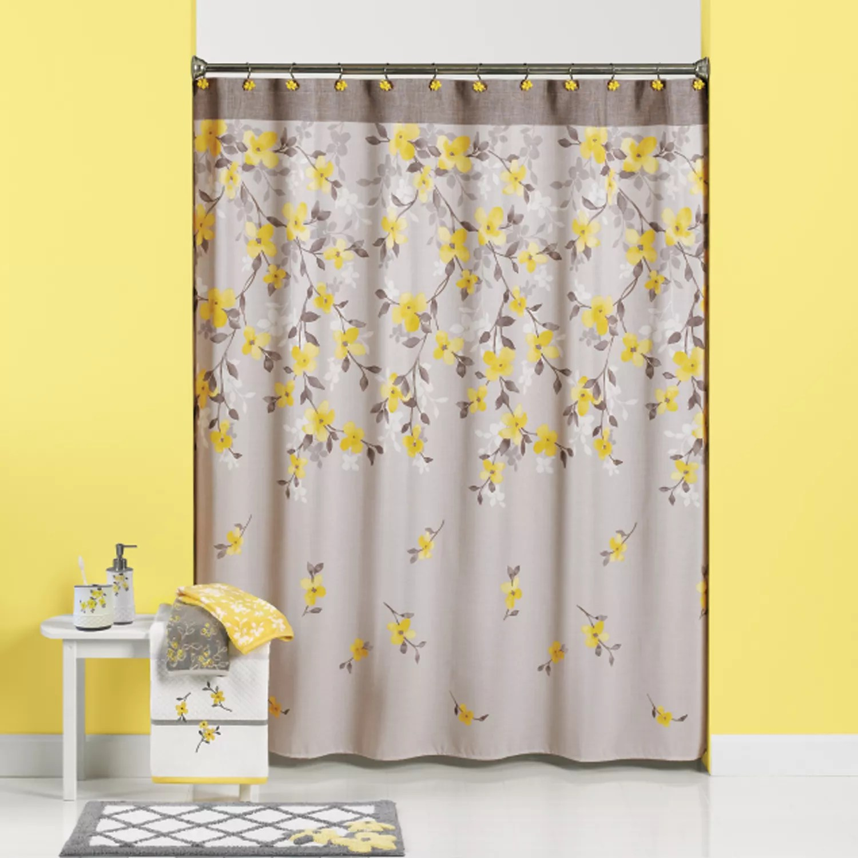Garden Floral Fabric Shower Curtain