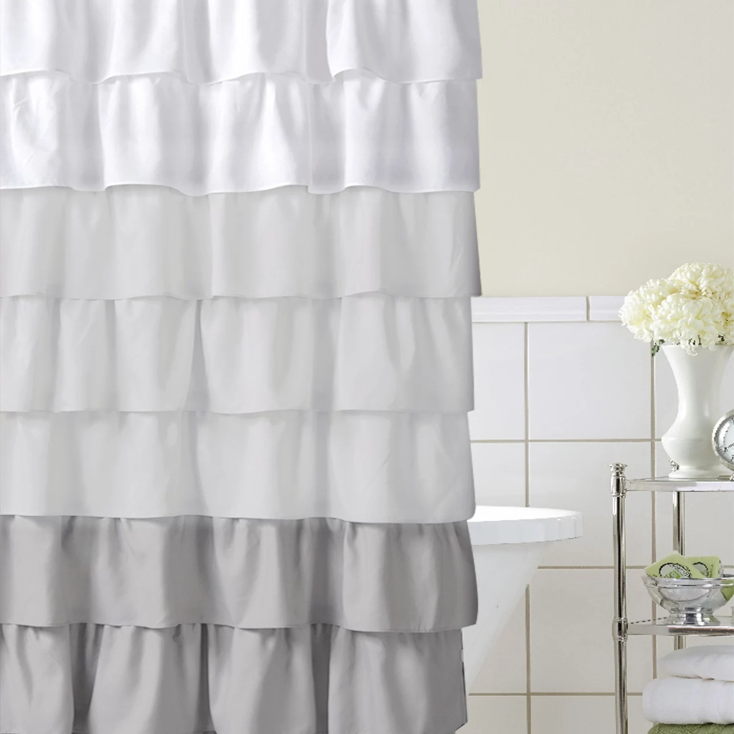home classics ruffle ombre fabric shower curtain