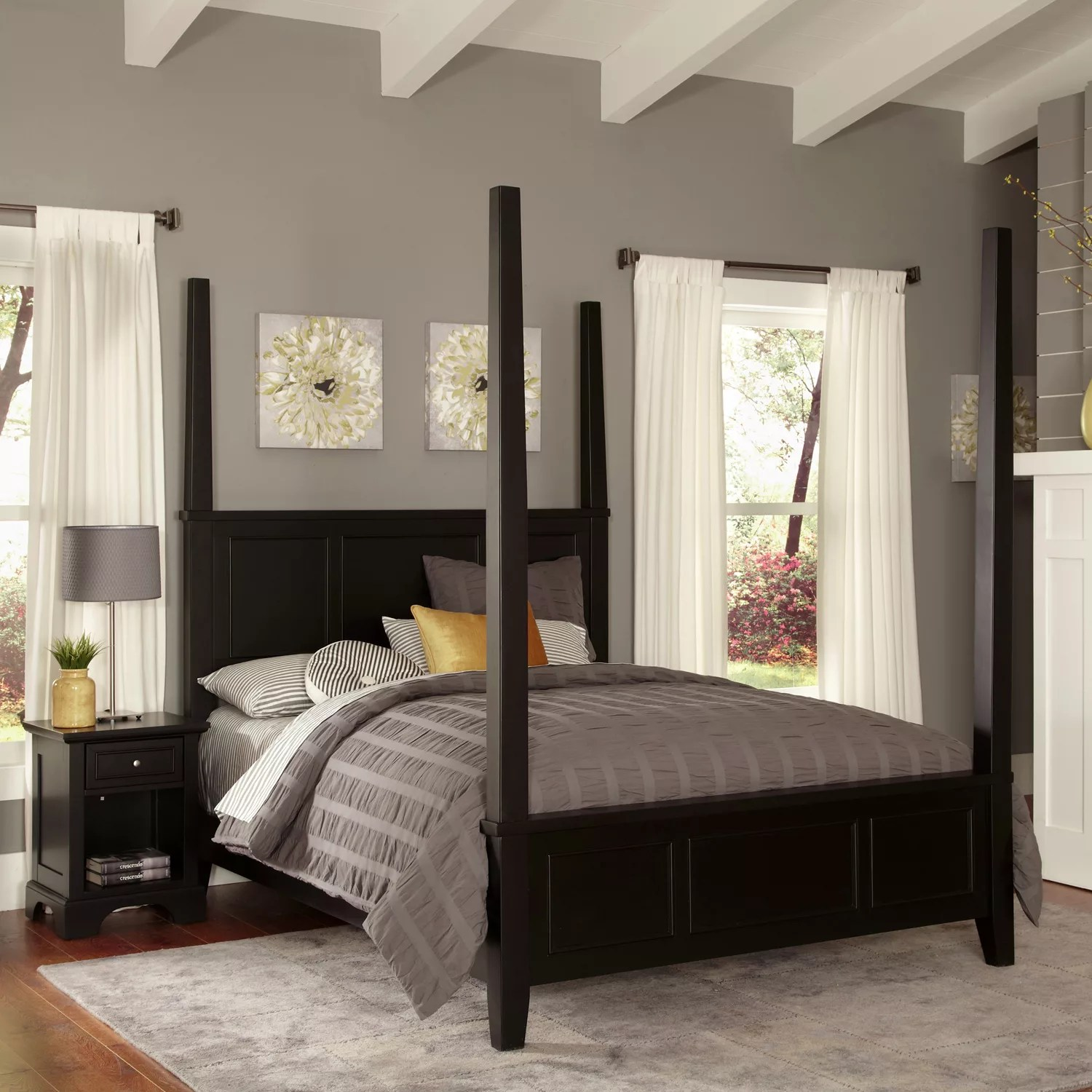 homestyles bedford 4 pc king headboard footboard frame poster bed and nightstand set