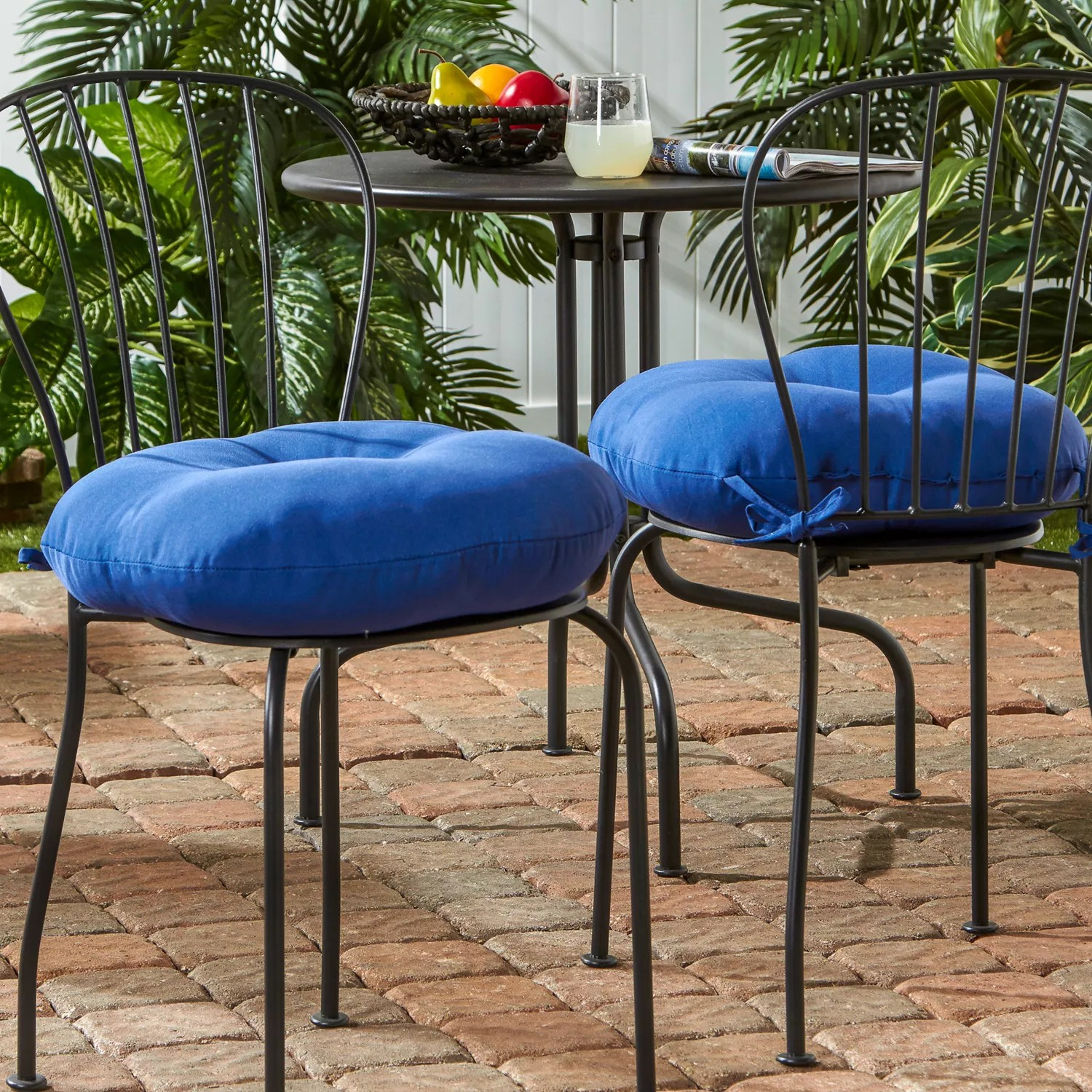 greendale home fashions 2 pk round outdoor bistro cushions 18