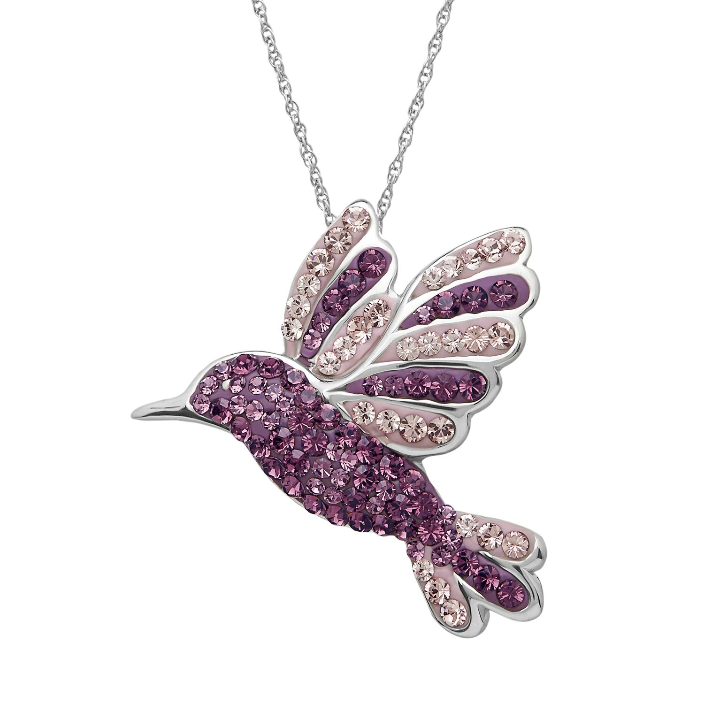 Artistique Sterling Silver Crystal Hummingbird Pendant